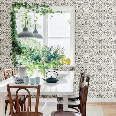 Sonoma Black Spanish Tile Black Wallpaper Sample