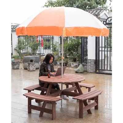 8-Person Brown Round Wooden Outdoor Patio Deck Garden Picnic Table