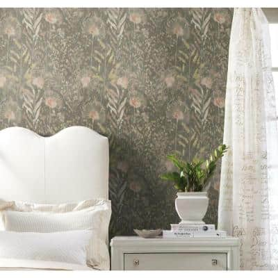 Taupe and Pink Dandelion Peel and Stick Wallpaper (Covers 28.18 sq. ft.)
