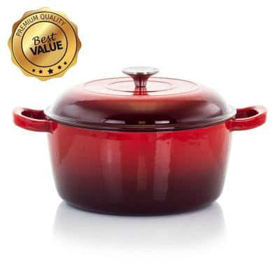 MegaChef 5 Qt. Round Enameled Cast Iron Casserole in Red with Lid
