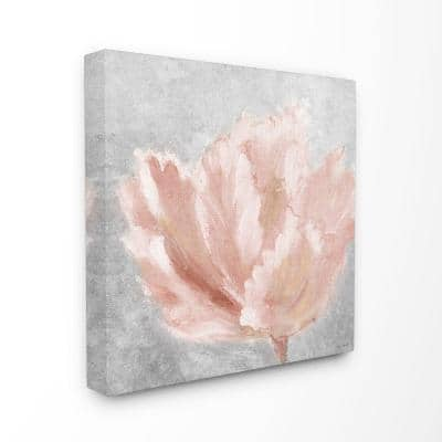 """30 in. x 30 in. """"Beautiful Large Flower Pink Grey Textured Painting"""" by Lanie Loreth Canvas Wall Art"""
