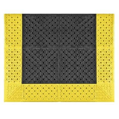 No Trax Cushion-Lok Black with Yellow Border 30 in. x 60in. PVC Anti-Fatigue/Safety Mat