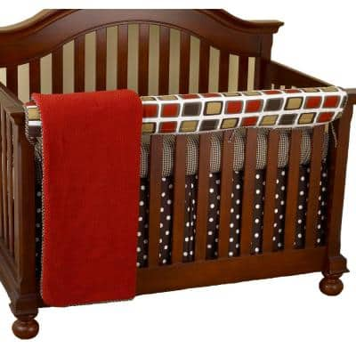 Houndstooth Cotton Geometric Squares Front Crib Rail Cover Up
