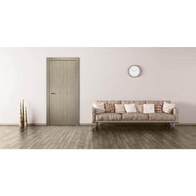 30 in. x 80 in. Viola 2HN Shambor Finished with Aluminum Strips Solid Core Composite Interior Door Slab No Bore