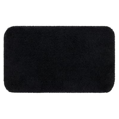 Riverside Black 17 in. x 24 in. Nylon Machine Washable Bath Mat
