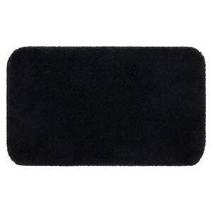 Riverside Black 20 in. x 34 in. Nylon Machine Washable Bath Mat