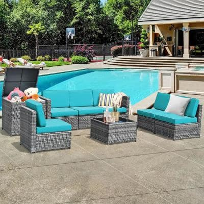 8-Piece Wicker Outdoor Sectional Set with Turquoise Cushions