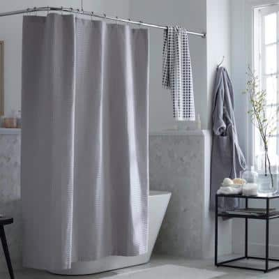 Company Cotton 72 in. Silver Shower Curtain