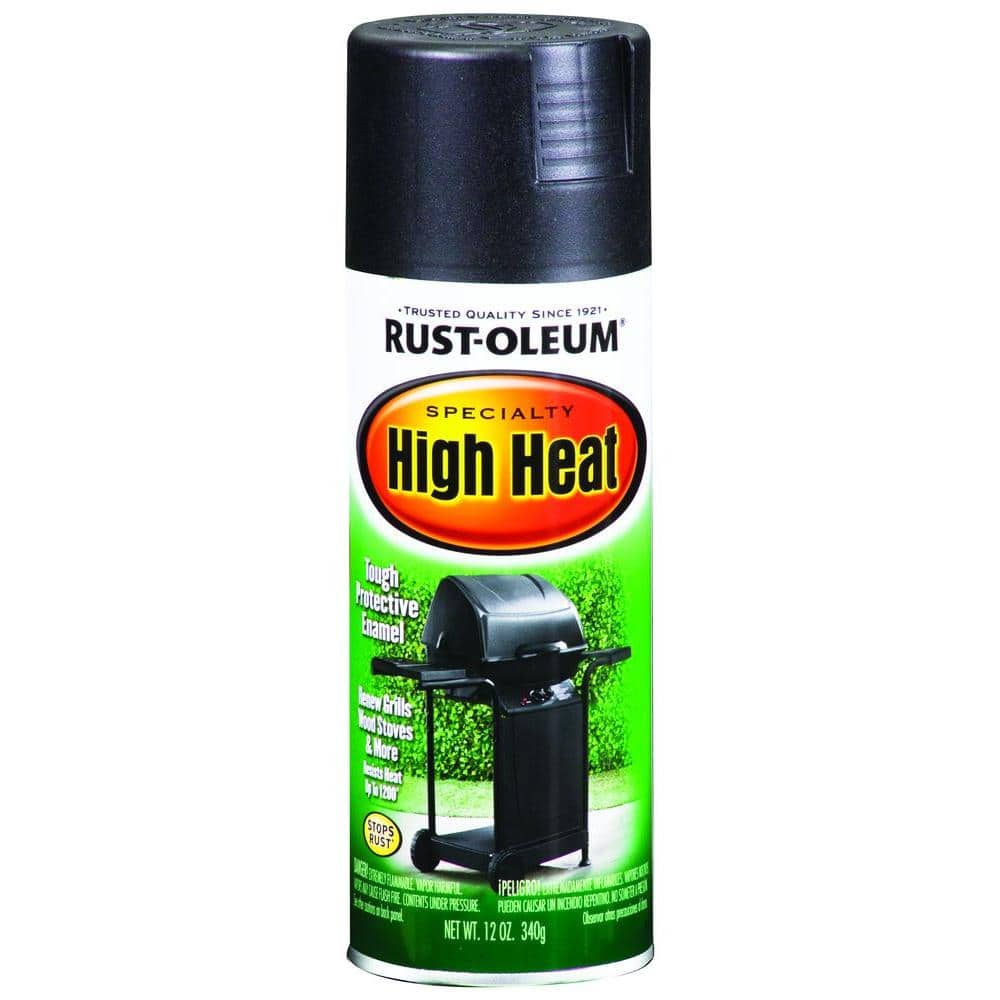 Rust Oleum Specialty 12 Oz High Heat Satin Bar B Que Black Spray Paint 7778830 The Home Depot