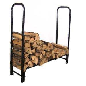 4 ft. Black Steel Firewood Log Rack with Cover