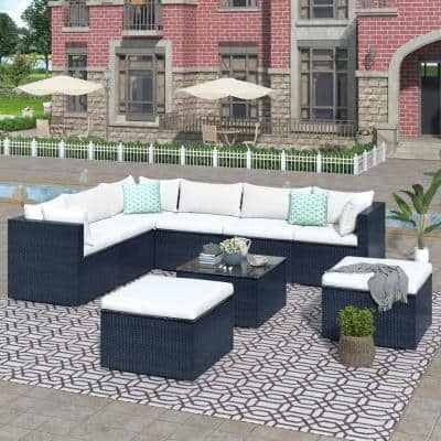 Black 9-Piece Wicker Outdoor Sectional Set with Beige Cushions