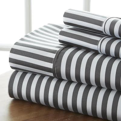 4-Piece Gray Striped Microfiber California King Sheet Set