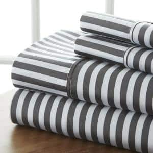 4-Piece Gray Striped Microfiber Twin Sheet Set