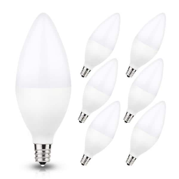 Yansun Ul Listed 60 Watt Equivalent 6w C11 Non Dimmable Led Candle Light Bulb E12 Base In Warm White 3000k 6 Pack H Lz08602e12 6 The Home Depot