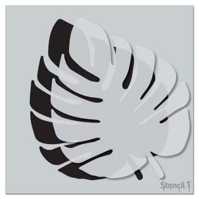 Monstera Tropical Leaf Repeat Pattern Stencil