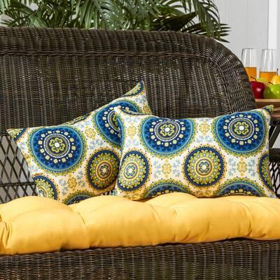Summer Medallion Lumbar Outdoor Throw Pillow (2-Pack)