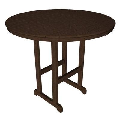 La Casa Cafe Mahogany 48 in. Round Patio Bar Table