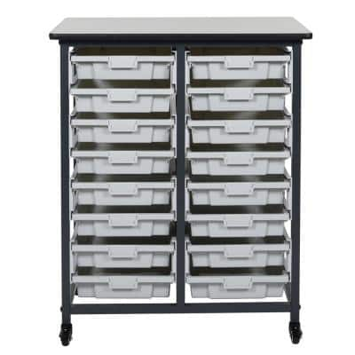 37 in. x 30 in. Mobile Bin Storage Cart Double Row and Single Bin Plastic in Black Frame