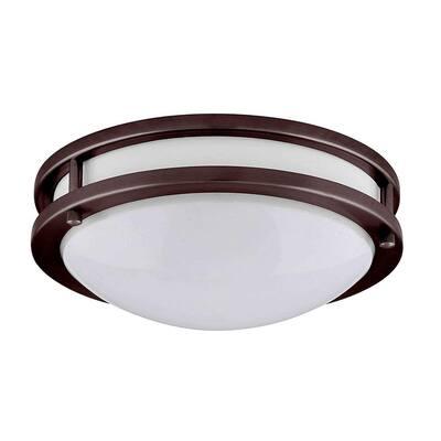 JR 10 in. 1-Light Bronze LED Flush Mount Light 3000K