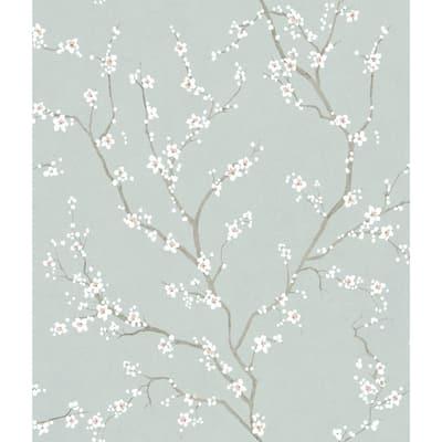 Blue Cherry Blossom Blue Vinyl Peel & Stick Wallpaper Roll (Covers 28.18 Sq. Ft.)