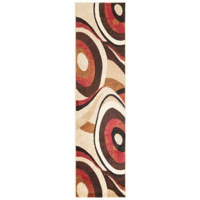 Tribeca Brown/Red 2 ft. x 12 ft. Indoor Runner Rug