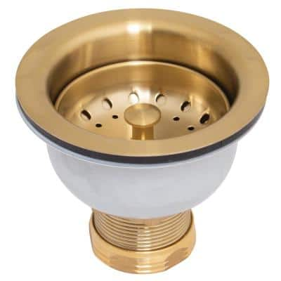 Stainless Steel and Brass Deep Dish Posi-Lock Basket Strainer Assembly in Aged Brass