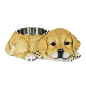 Labrador 14 in. x 5.5 in. Resin Statue with Stainless Insert Bowl Dog in MultiColor