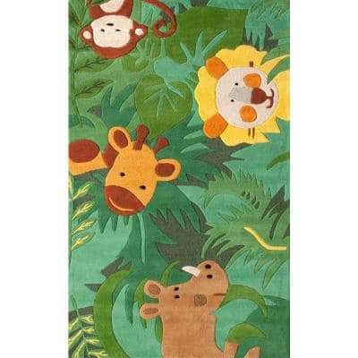 King Of The Jungle Playmat Green 4 ft. x 6 ft.  Area Rug