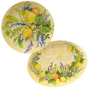 Lemon Zest 2-Piece 14 in. Round and 18 in. Oval Multicolored Melamine Platter Set