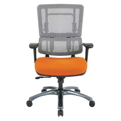 Vertical Grey Mesh Back Chair with Titanium Base and Orange Seat