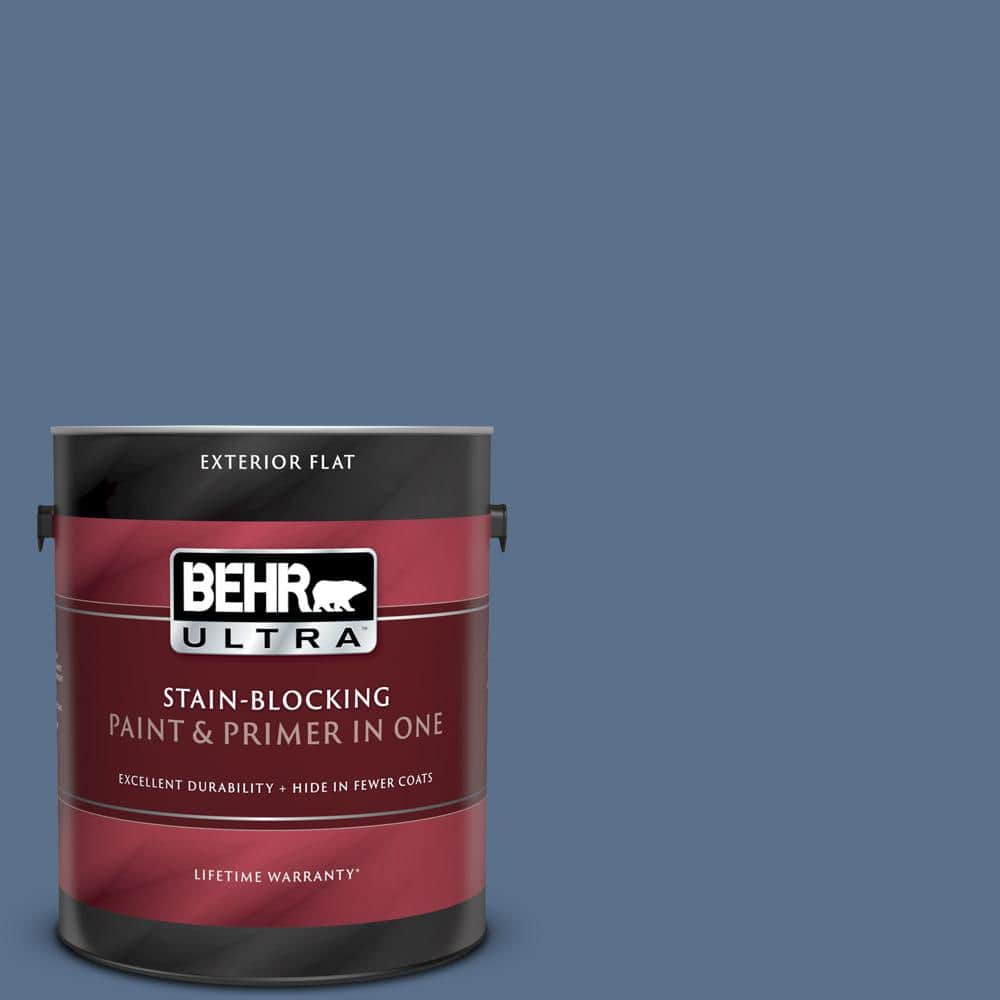 Behr Ultra 1 Gal 600f 6 Atlantic Blue Flat Exterior Paint And Primer In One 485301 The Home Depot