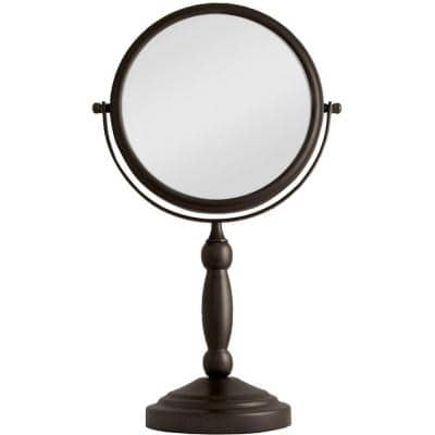 16 in. L x 9 in. W 360° Swivel Round Freestanding Bi-View 10X/1X Magnification Vanity Beauty Makeup Mirror in Bronze