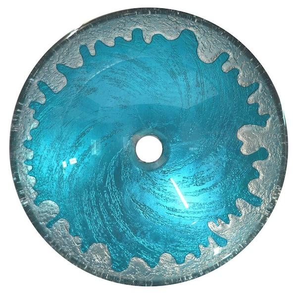 Eden Bath Blue Ice Glass Vessel Sink In Multi Colors Eb Gs33 The Home Depot