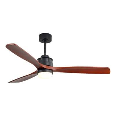 60 in. Integrated LED Indoor/Outdoor Black Ceiling Fan With Light Kit and Remote Control