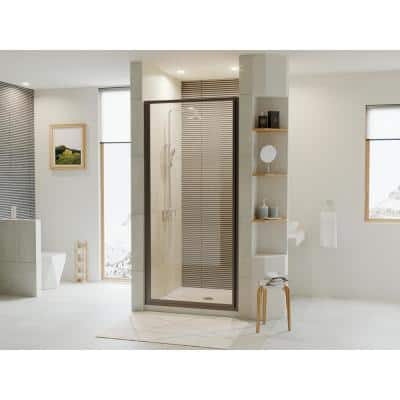 Legend 33.625 in. to 34.625 in. x 69 in. Framed Hinged Shower Door in Matte Black with Clear Glass
