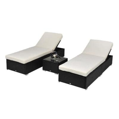 3-Piece Plastic Rattan Outdoor Chaise Lounge Chair Set with Functional Side Table, Reclining Backrest and White Cushions