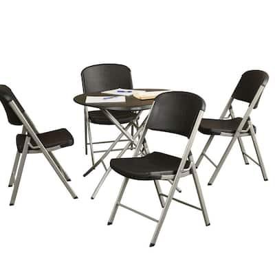 5-Piece Black Portable Folding Table Set