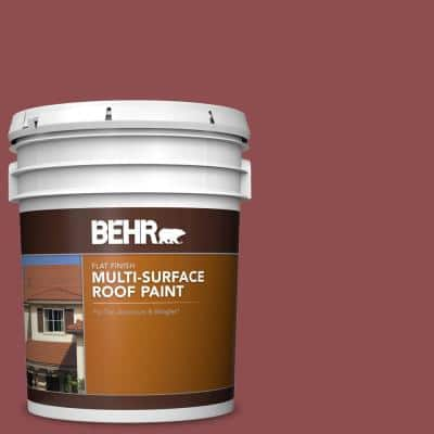 5 gal. #PPU1-08 Pompeian Red Flat Multi-Surface Exterior Roof Paint