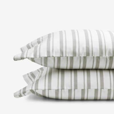 Company Kids Stripe Gray Organic Cotton Percale Standard Pillowcase (Set of 2)