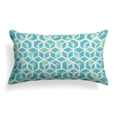 Teal Cubed Outdoor Lumbar Throw Pillow