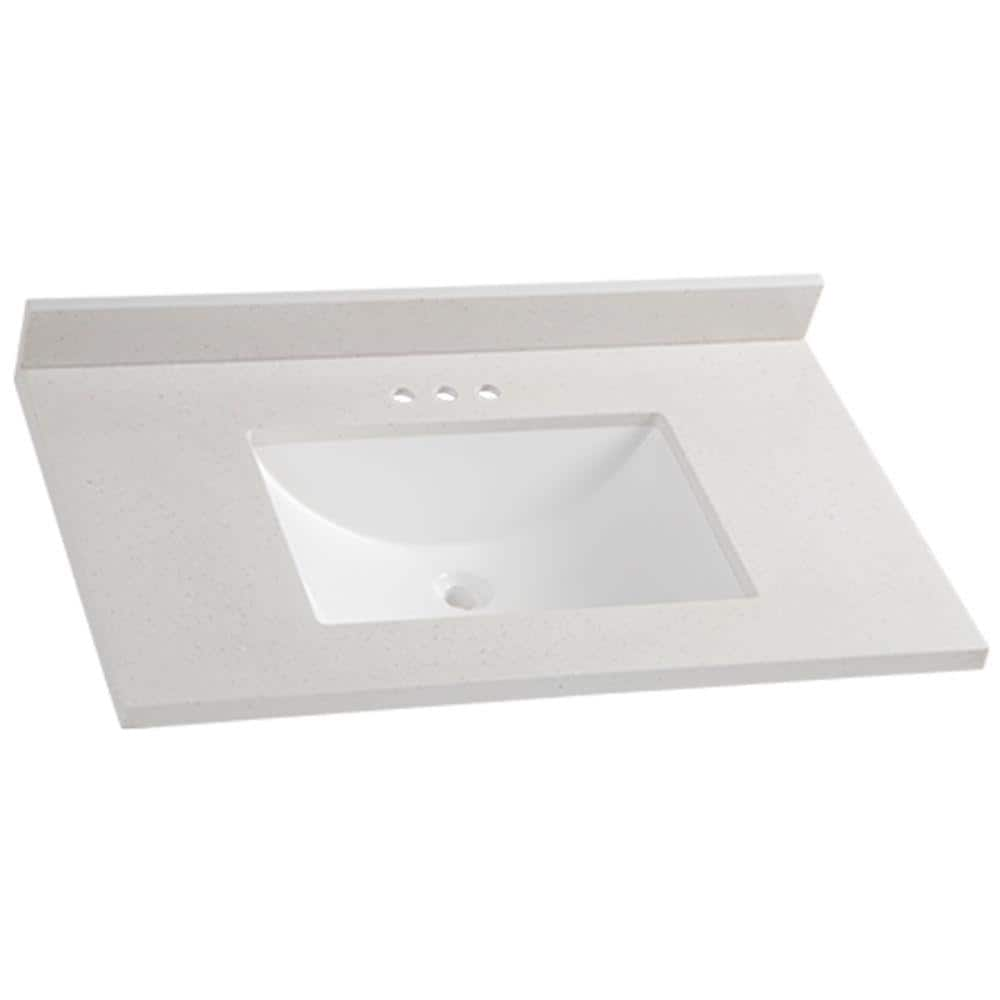 Glacier Bay 37 In W X 22 In D Solid Surface Vanity Top In Titanium With White Sink Ss3722r Ti The Home Depot
