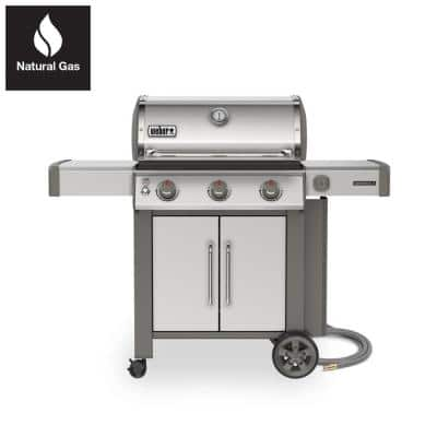 Genesis II S-315 3 Burner Natural Gas Grill in Stainless Steel with Built-In Thermometer