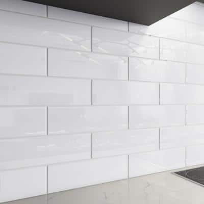 Bright White 4 in. x 12 in. x 8mm Glass Subway Tile (5 sq. ft./Case)