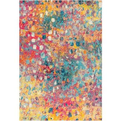 Contemporary Pop Modern Abstract Multi/Yellow 8 ft. x 10 ft. Area Rug