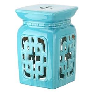 Beijing Filigree Light Blue Ceramic Garden Stool