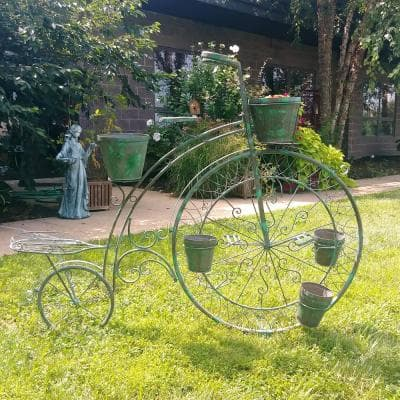 52.5 in. Tall High Wheel Iron Bicycle Planter in Verdi Green