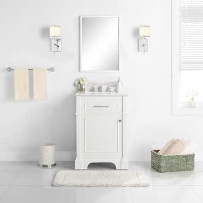 Melpark 24 in. W x 20 in. D Bath Vanity in White with Cultured Marble Vanity Top in White with White Sink
