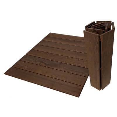 Roll Floor RV Mat 2.7 ft. x 3.5 ft. Non-Slip Thermo-Treated Wood Deck Tile in Brown (1-Each)