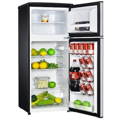 4.5 cu. ft. 2 Door Mini Fridge in Stainless Look with Freezer