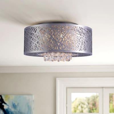 16 in. W x 7.3 in. Silver Round Luxury Lamp Shape